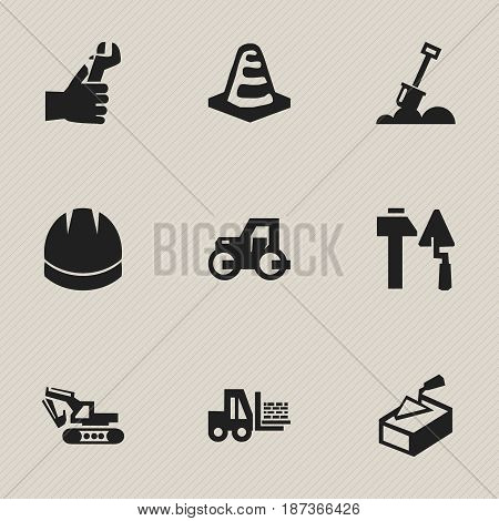 Set Of 9 Editable Structure Icons. Includes Symbols Such As Oar, Spatula, Caterpillar And More. Can Be Used For Web, Mobile, UI And Infographic Design.