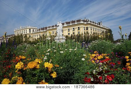 Vienna Austria - 9-23-2016: The Schonbrunn Palace and gardens in Vienna Austria one of the palaces in Vienna from the Habsburg era