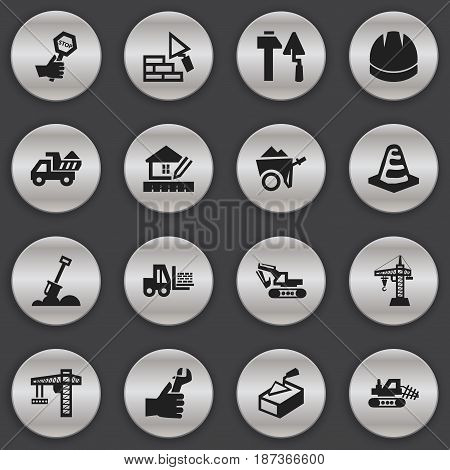 Set Of 16 Editable Building Icons. Includes Symbols Such As Endurance, Truck, Oar And More. Can Be Used For Web, Mobile, UI And Infographic Design.