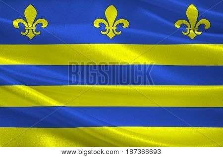 Flag of Montreuil or Montreuil-sur-Mer is a sub-prefecture in the Pas-de-Calais department in northern France. 3d illustration