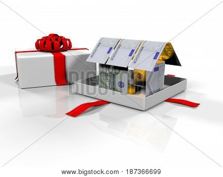 House Made of Cash Money Isolated on White Background 3d render
