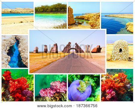 The collage from images of Ras Muhammad National Park in Egypt
