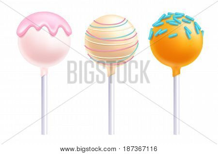 Lollipops set. Colorful cake pops on stick with sprinkles.