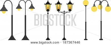 Set flat streetlights. City lamps are isolated on a white background. Vector illustration