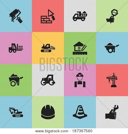 Set Of 16 Editable Structure Icons. Includes Symbols Such As Truck, Trolley, Facing And More. Can Be Used For Web, Mobile, UI And Infographic Design.