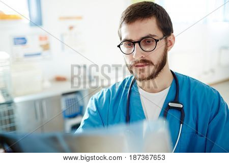 Young veterinarian looking at x-ray of patient