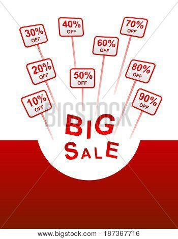 big sale red background with plates with sticks indicating percent discount from 10 to 90 and the inscription BIG SALE