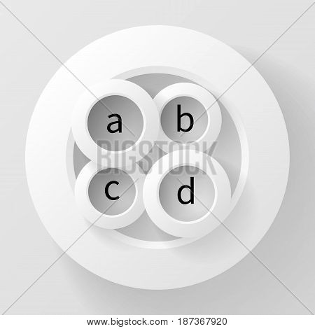 Abstract vector background of four circles inside the fifth, made of paper and casting shadows. A clip art element that can be used for infographics, logos, covers, etc.