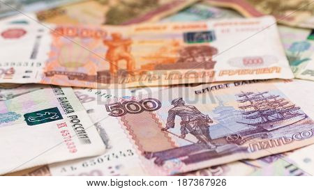 Close-up of Russian rubles money background. Finance