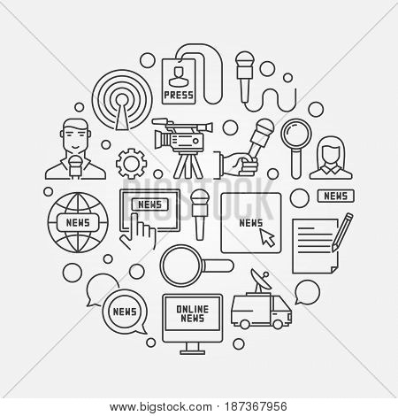 News circular outline illustration - vector round sign made with microphone, reporter, newspaper, van, camera and other icons