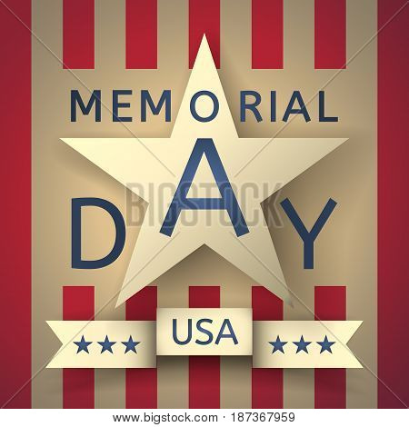 Grunge retro background to the memorial day with the emblem in the form of a white star, the creative inscription Memorial Day and ribbon with stars and inscription USA on the part of US flag