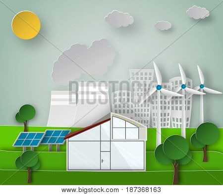 Paper art vector illustration of a renewable green energy sources concept on a dirty city background. Environmental issues.