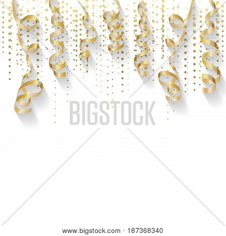 Abstract background with gold confetti. Gold wavy ribbon on a white background. For registration of cards, Happy New Year, Christmas, holidays. Vector illustration
