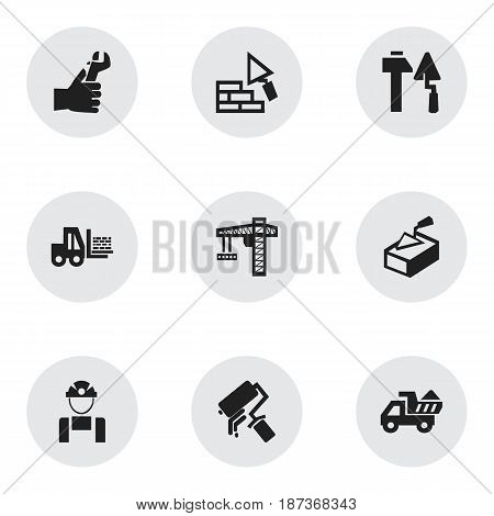Set Of 9 Editable Building Icons. Includes Symbols Such As Employee , Truck , Hands. Can Be Used For Web, Mobile, UI And Infographic Design.