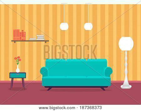 Interior design of living room in flat style with furniture sofa table bookshelf flower lamp. Indoor designing example. Vector illustration.