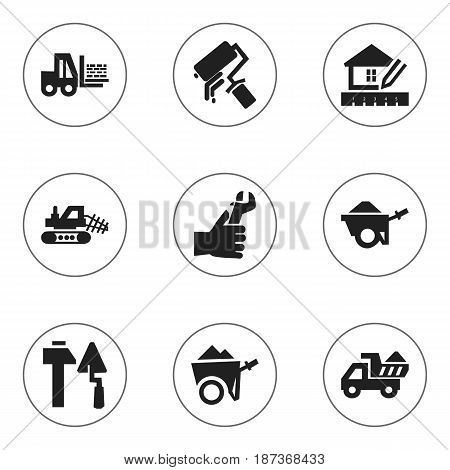 Set Of 9 Editable Structure Icons. Includes Symbols Such As Trolley , Camion , Handcart. Can Be Used For Web, Mobile, UI And Infographic Design.
