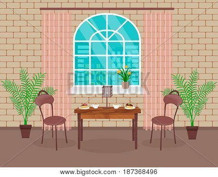 Loft interior design. Living room with brick wall table chairs hot coffee and dessert lamp window with arch. Vector illustration.