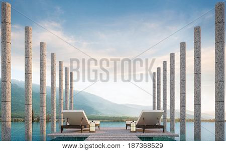 Private terrace on swimming pool with mountain view 3d rendering image.There are border less swimming pool decorated with stone column and surrounding with nature and mountains