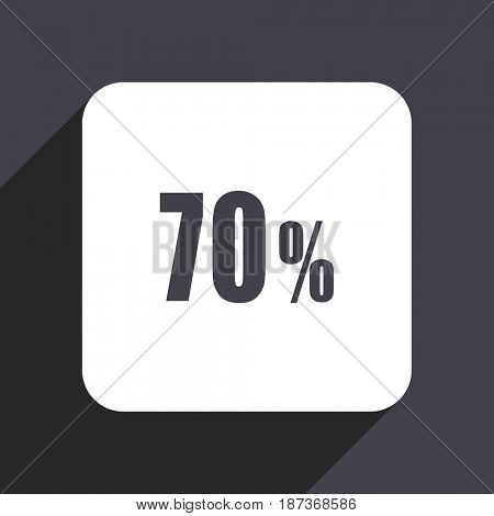 70 percent flat design web icon isolated on gray background