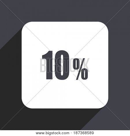 10 percent flat design web icon isolated on gray background