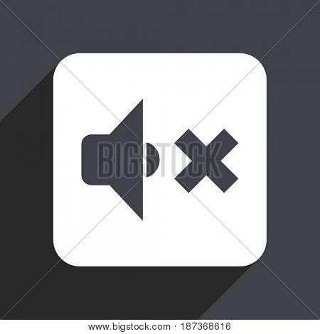 Speaker volume flat design web icon isolated on gray background