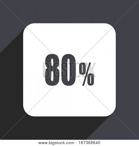80 percent flat design web icon isolated on gray background