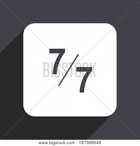 7 per 7 flat design web icon isolated on gray background
