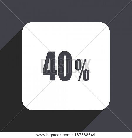 40 percent flat design web icon isolated on gray background