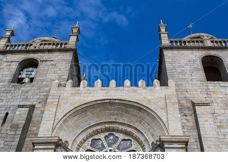Porto Cathedral (Se do Porto) against the blue sky. Portugal.