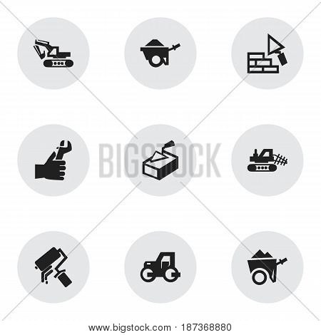 Set Of 9 Editable Building Icons. Includes Symbols Such As Mule, Hands , Trolley. Can Be Used For Web, Mobile, UI And Infographic Design.