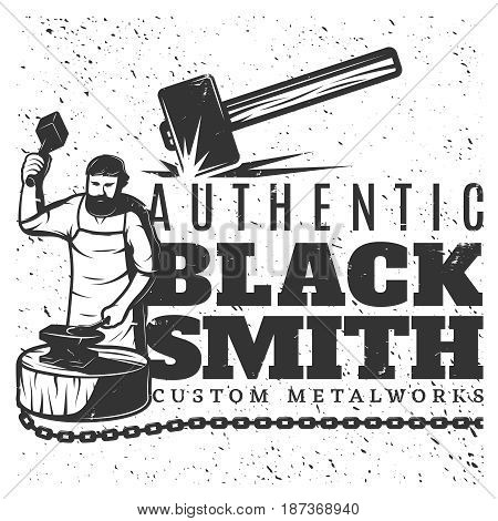 Monochrome vintage blacksmith template with metal chain bearded master holding sledgehammer and working on anvil vector illustration