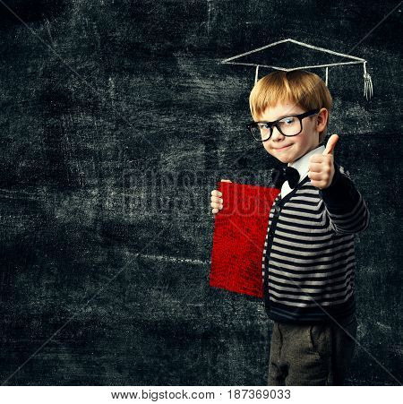 School Child Education Book Kid in Glasses with Certificate Graduation Hat on Blackboard Background Thumbs Up