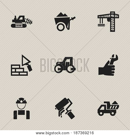 Set Of 9 Editable Building Icons. Includes Symbols Such As Camion , Caterpillar, Handcart. Can Be Used For Web, Mobile, UI And Infographic Design.