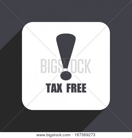 Tax free flat design web icon isolated on gray background