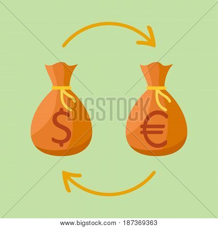Currency exchange. Money bags with dollar and euro sign. Flat style vector illustration.