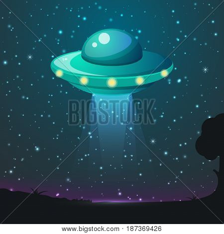 Cartoon UFO light vector. Alien sky beams. Ufo spaceship with beam, saucer ufo flying illustration