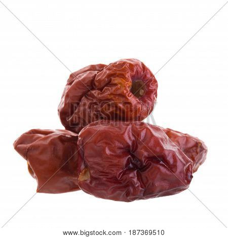Dried Jujube Fruits Chinese Herbal Medicine On A White Background