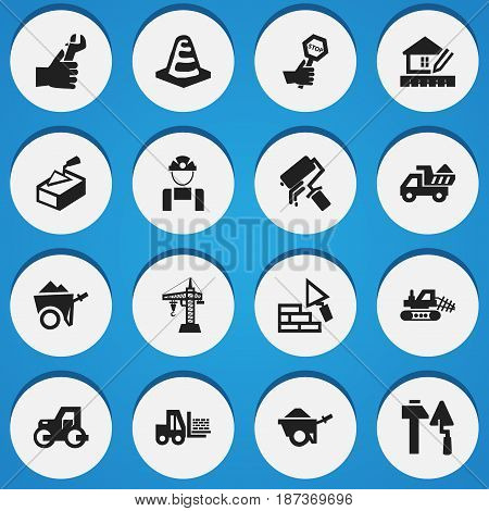 Set Of 16 Editable Structure Icons. Includes Symbols Such As Home Scheduling, Spatula, Camion And More. Can Be Used For Web, Mobile, UI And Infographic Design.