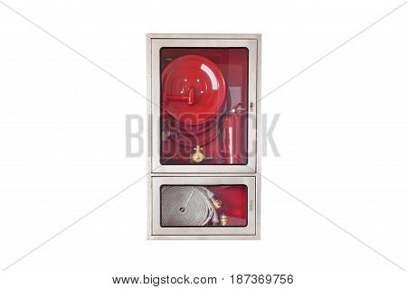 Fire safety equipment in the box isolated on white background