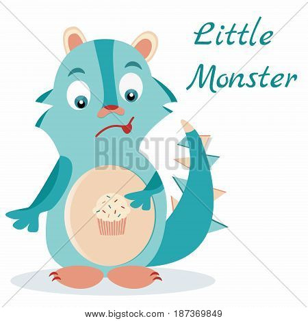 Cute blue monster with muffin in the stomach