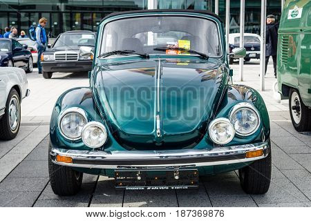 STUTTGART GERMANY - MARCH 04 2017: Compact car Volkswagen Beetle Cabrio 1976. Europe's greatest classic car exhibition