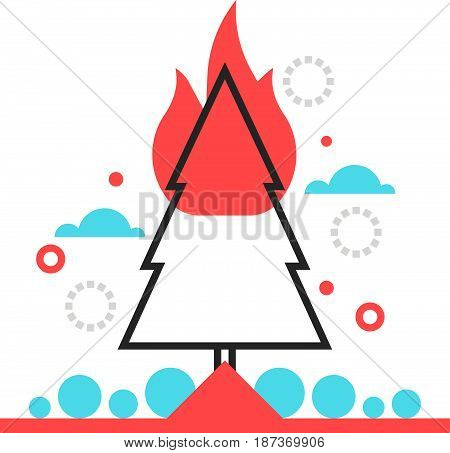 Color Box Icon, Forest Fire Protection Illustration, Icon