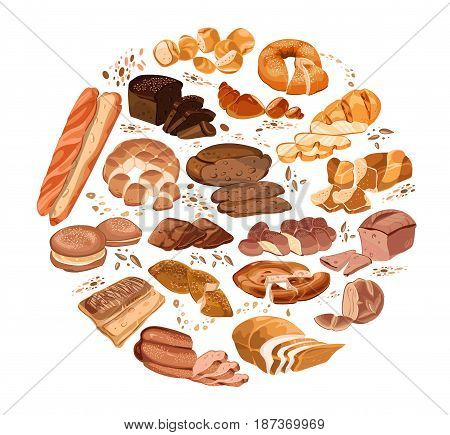 Colorful baking products round concept with sliced bread of different types isolated vector illustration