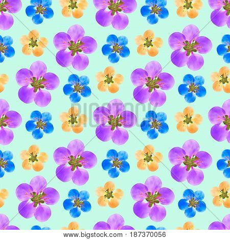 Apple quince. Texture of flowers. Seamless pattern for continuous replicate. Floral background photo collage for production of textile cotton fabric. For use in wallpaper covers.