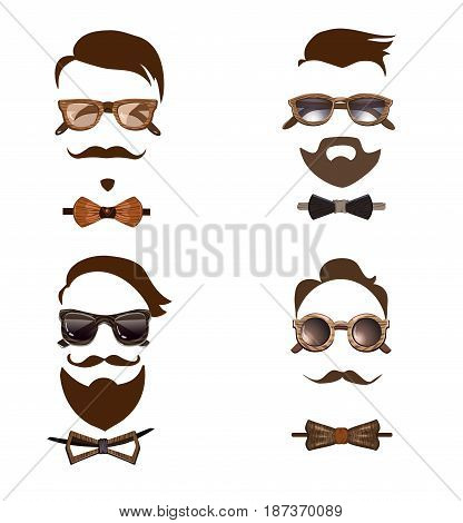 Hipster outfit combinations set with different wooden glasses bow ties mustache beard and hairstyle isolated vector illustration