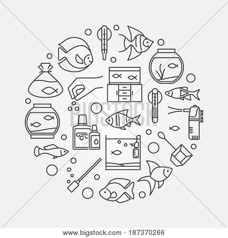 Aquarium round illustration - vector symbol made with icons of fish and accessories in thin line style. Aquariumistics concept sign