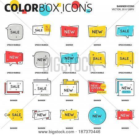 Color Box Icons, Speech Bubble, Banner Graphics