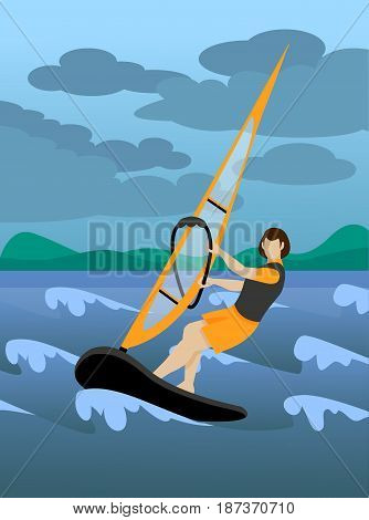 Colorful extreme windsurfing sport background with sportsman sailing on sea waves vector illustration