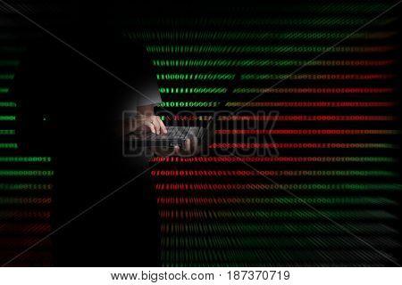 Virus in computer code on black background