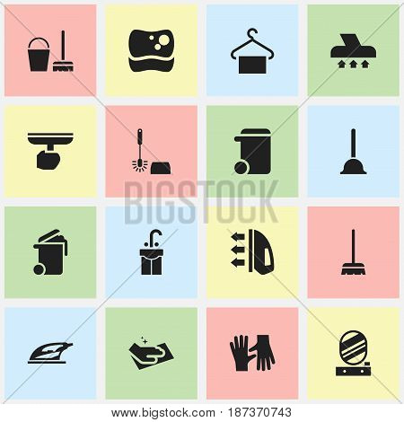 Set Of 16 Editable Dry-Cleaning Icons. Includes Symbols Such As Dustbin, Sink, Gauntlet And More. Can Be Used For Web, Mobile, UI And Infographic Design.
